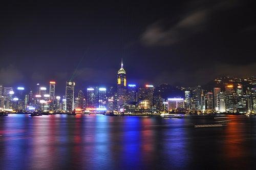 Vista de Hong Kong a la noche