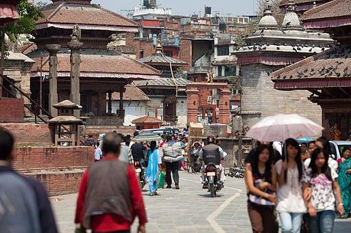 Una calle de Katmandú.