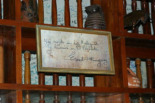 La firma de Hemingway.