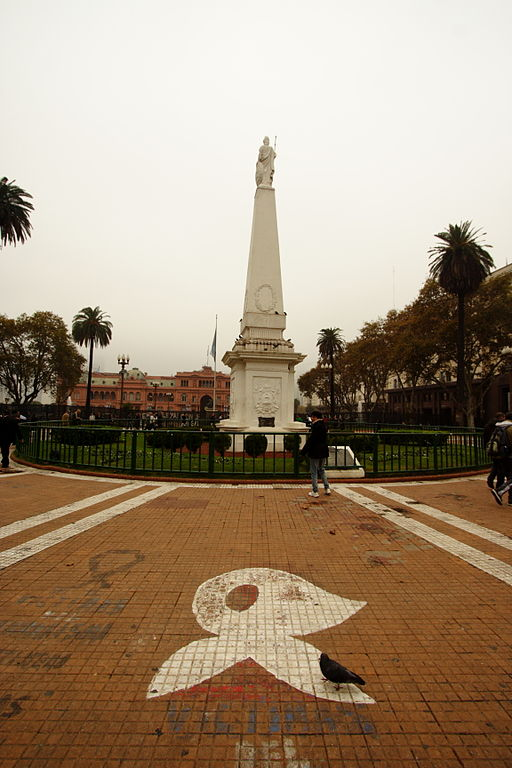 El símbolo de las Madres de la Plaza de Mayo, en Argentina.
