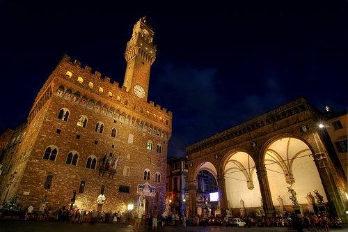 piazza della signoira de noche