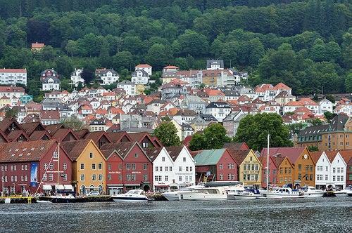 La encantadora ciudad de Bergen en Noruega