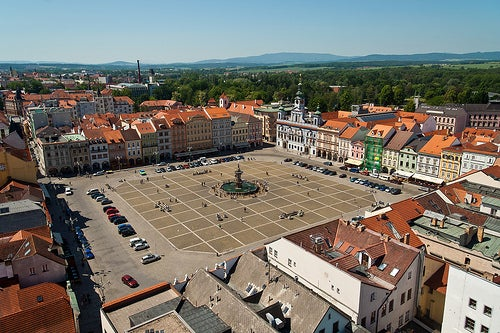 Ceske Budejovice's town square